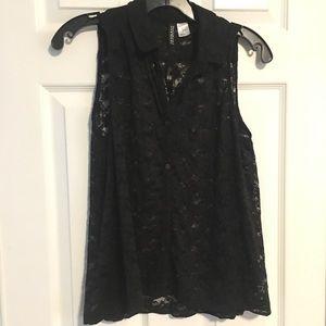 H&M Sleeveless Black Lace shirt size 6